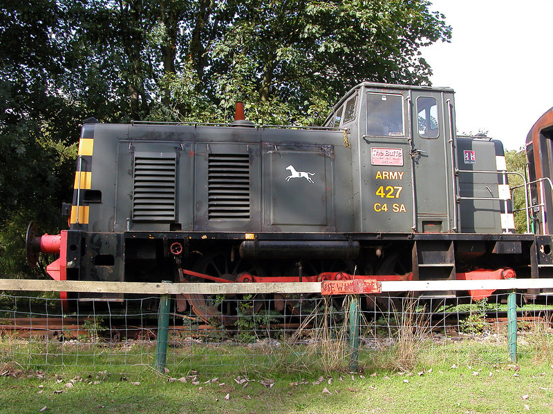A 2006 view of Ruston & Hornsby Type LSSH 0-6-0 No.427 named The Buffs and 9th Field Squadron Royal Engineers (works number 466616 of 1961).  This Army locomotive is owned by a private Trust.   Shepherdswell Station, East Kent Railway.  19.09.2006