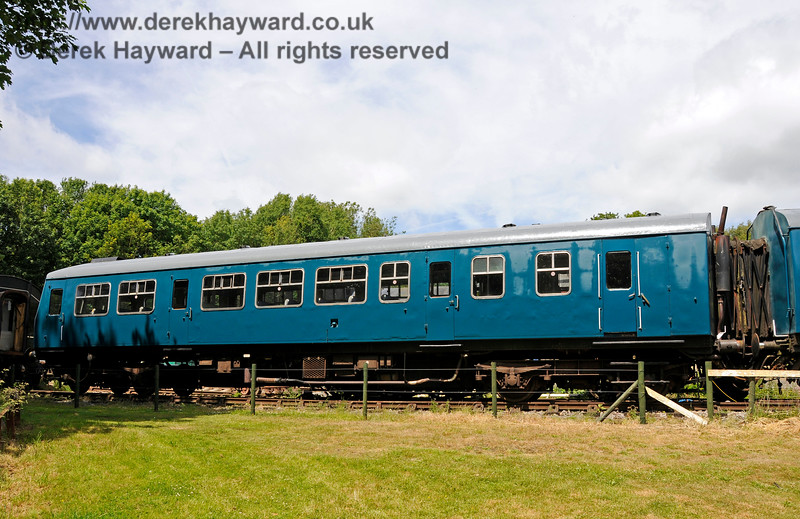 Although without visible markings, this coach is believed to be No. 53256, the DMBS from set 101682, which was repainted into BR Blue livery.  Shepherdswell Station, East Kent Railway. 17.06.2015  12753