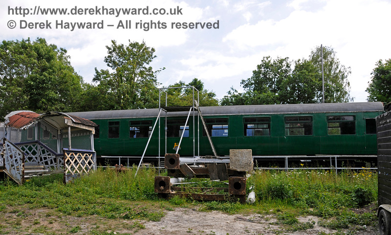 One of the motor coaches from 4-COR unit 3142.   This is believed to be motor coach 11161.  Shepherdswell Station, East Kent Railway.  17.06.2015  12751
