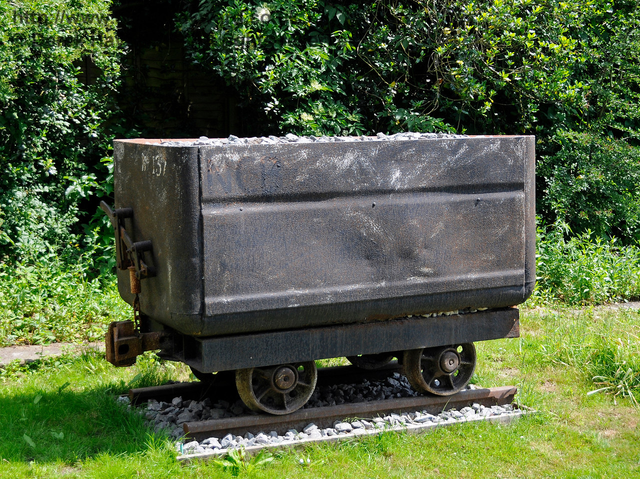 Industrial heritage items on display at Shepherdswell Station, East Kent Railway.  If you look very closely you can just see NCB (National Coal Board) on the top left corner of the truck.  17.06.2015  12763