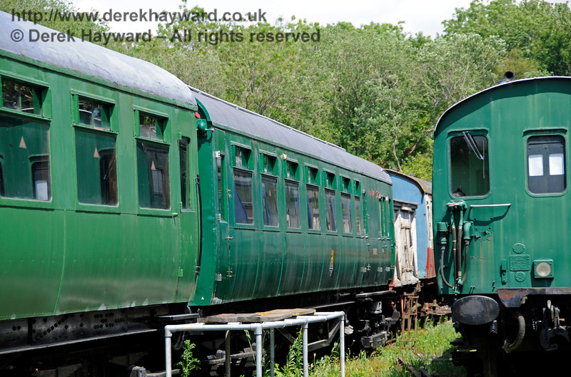 One of the motor coaches from 4-COR unit 3142.  This is believed to be motor coach 11161.   Shepherdswell Station, East Kent Railway.  17.06.2015  12736