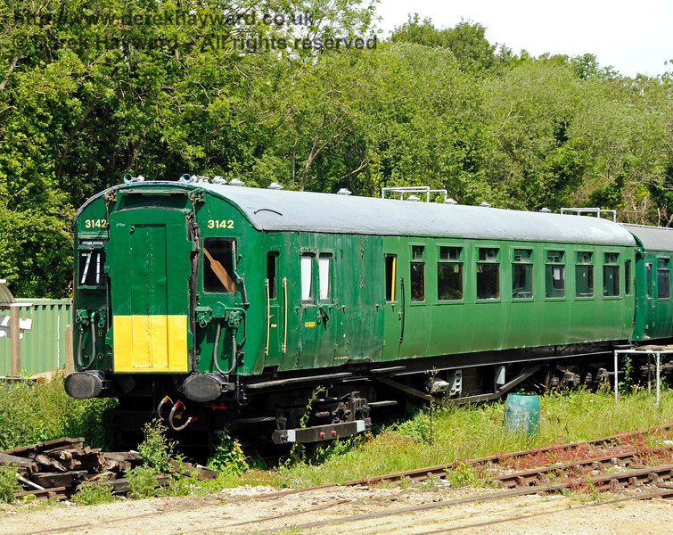 One of the motor coaches from 4-COR unit 3142.  Although the 4-COR motor coach carried no coach number it is believed to be motor coach 11187, which has been the subject of a 20 year rebuild off site, and which arrived at Shepherdswell in November 2012.  Shepherdswell Station, East Kent Railway. 17.06.2015  12730