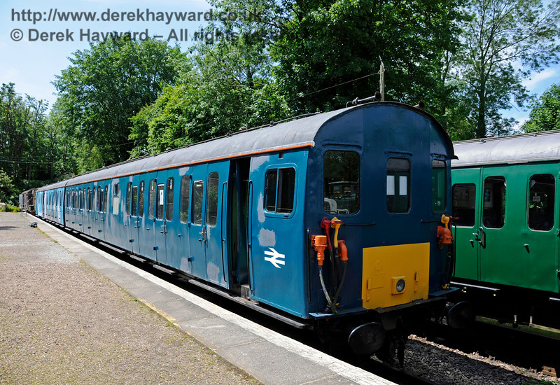 Class 205 DEMU 205001, originally numbered 1101, (coaches S60100 and S60800) now seen in blue livery in 2015.  This unit is undergoing restoration at Shepherdswell Station, East Kent Railway. The unit suffered serious vandalism to it's windows (scratched by vandals beyond repair) and all it's windows will need to be replaced.  17.06.2015  12727