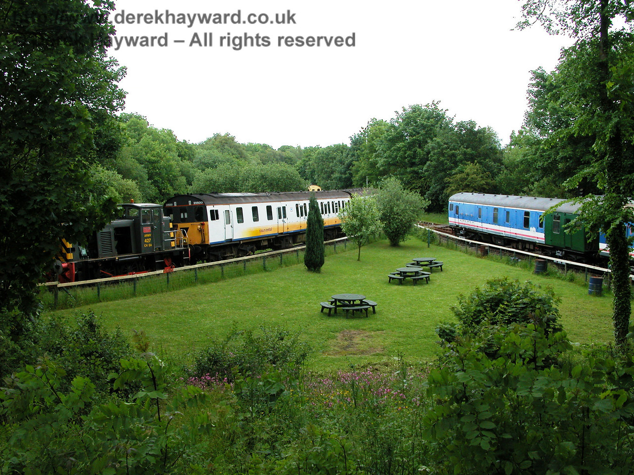 Shepherdswell Station looking east in 2005.  A general view across the picnic area. 06.06.2005