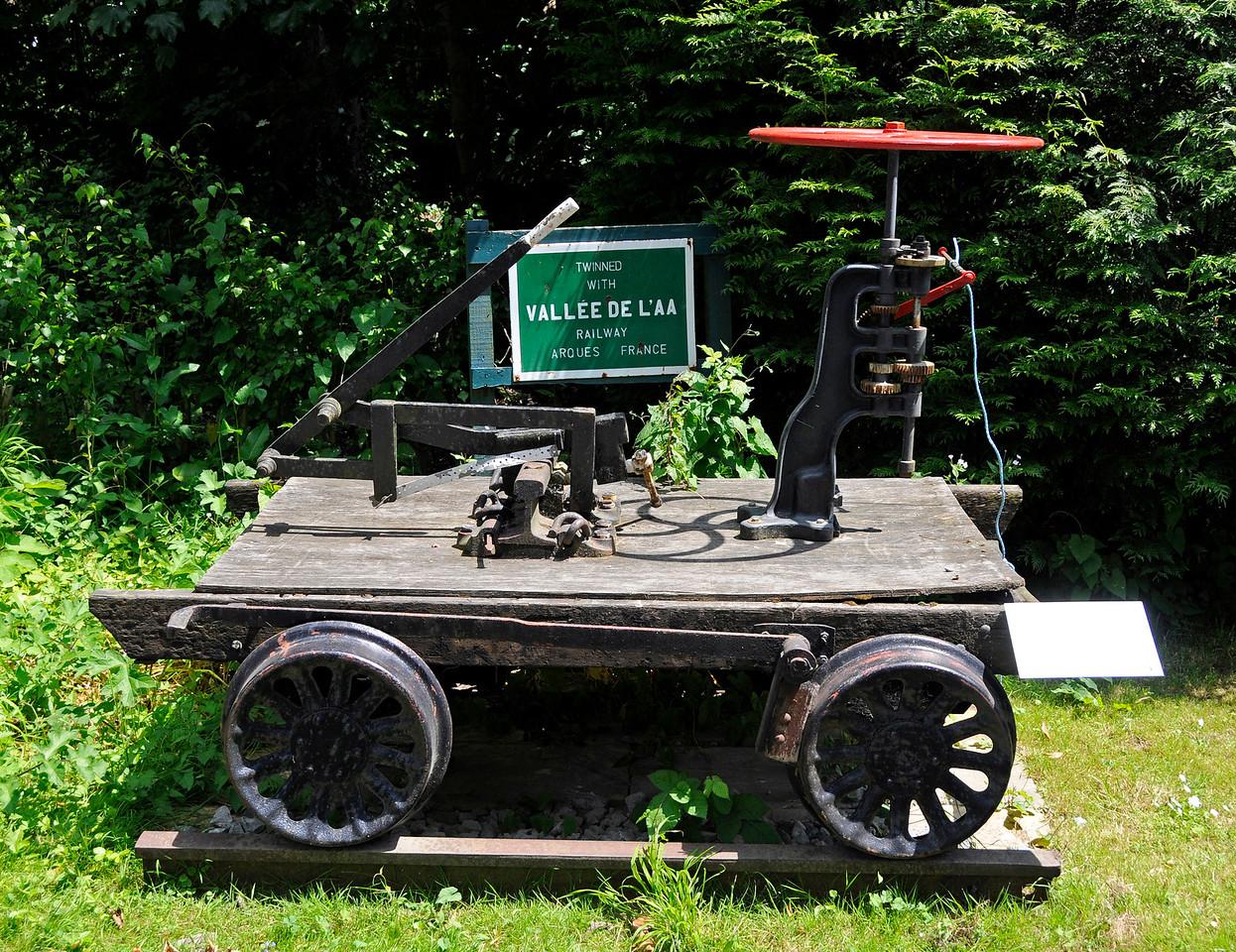 Industrial heritage items on display at Shepherdswell Station, East Kent Railway.  17.06.2015  12761