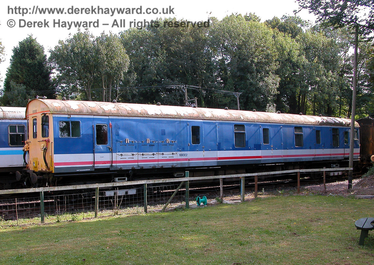 A second shot of Motor Luggage Van S68002 at Shepherdswell 15 months later.  MLV 68001 is also here, under restoration, but was not in a position where it could be photographed during this visit. 19.09.2006   On 3 April 2014 S68002 was moved to Southall for major repairs and refurbishment.