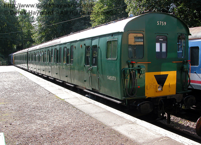 In 2006, 2-EPB 5759, with coach S65373 in the foreground, waits at Shepherdswell.  Restoration of this unit was progressing well. 19.09.2006