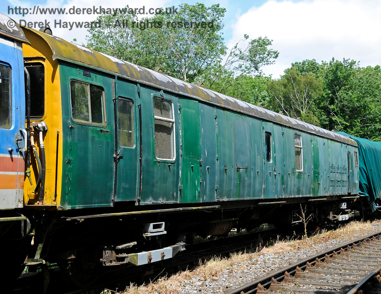 Motor Luggage Van (MLV) S68009.  This coach is owned by the EPB Preservation Group.  Shepherdswell Station, East Kent Railway. 17.06.2015  12741