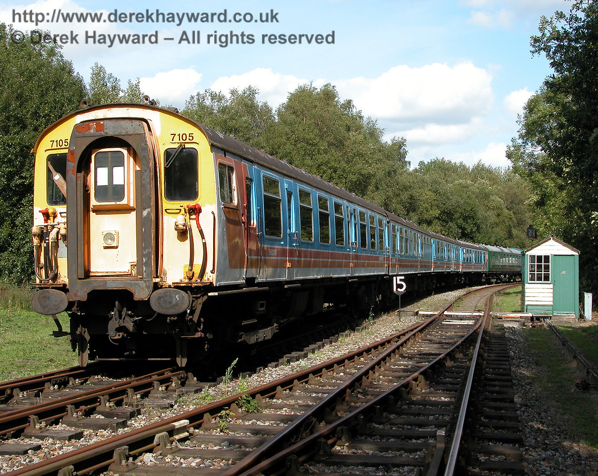 BR 4-CEP unit 7105, with coach S61230 nearest the camera, pictured at Shepherdswell on 19.09.2006.  During a visit in 2015 both motor coaches from this unit were off site being restored and fitted out for use on Network Rail track.