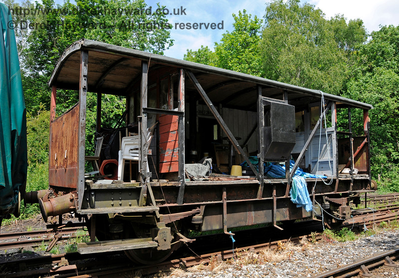 An unidentified brake van undergoing repair.  Shepherdswell Station, East Kent Railway. 17.06.2015  12745
