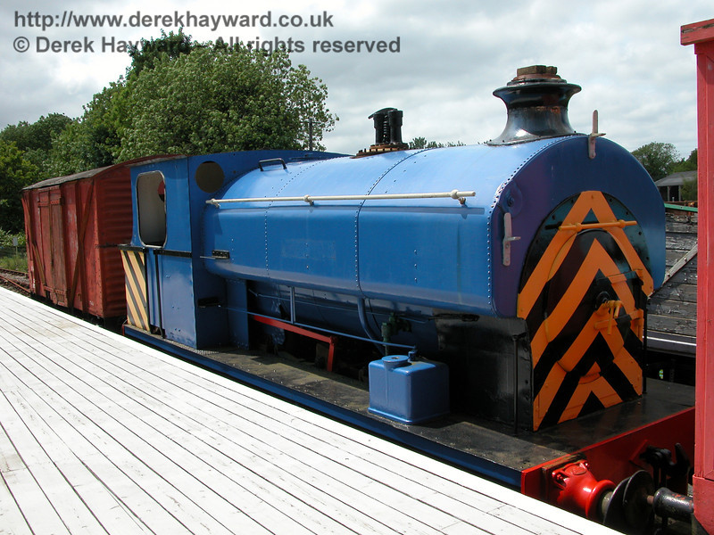 An earlier view of Avonside 0-6-0 St Dunstan when it was stored at Eythorne Station.  06.06.2005