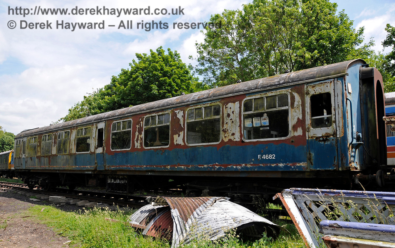 BR Mark I TSO No. E4682 built at York in 1957 as Lot No. 30375.  This coach is being considered for restoration.  Shepherdswell Station, East Kent Railway. 17.06.2015  12750