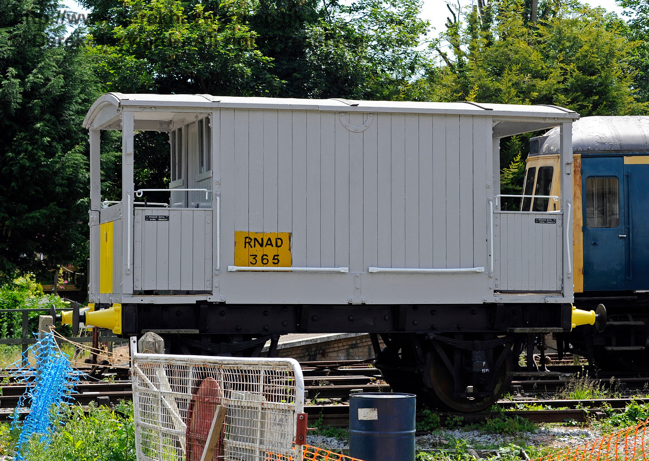 An unidentified brake van carrying the number RNAD 365.  Shepherdswell Station, East Kent Railway. 17.06.2015  11371
