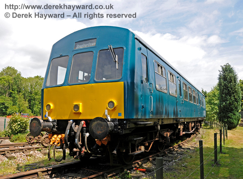 Although without visible markings, this coach is believed to be No. 53256, the DMBS from set 101682, which was repainted into BR Blue livery.  Shepherdswell Station, East Kent Railway.  17.06.2015  12759