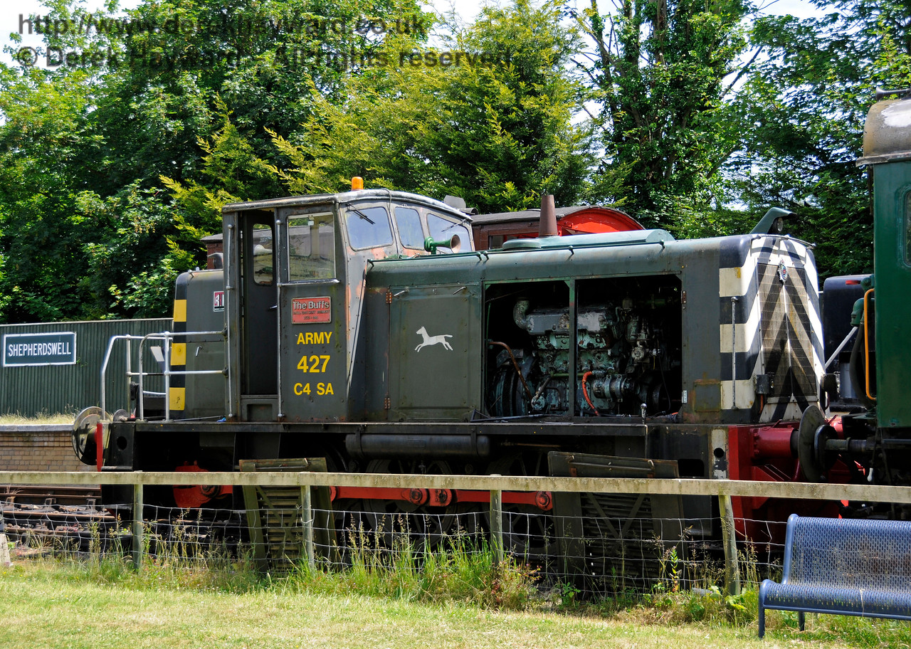 Ruston & Hornsby Type LSSH 0-6-0 No.427 named The Buffs and 9th Field Squadron Royal Engineers (works number 466616 of 1961).  This Army locomotive is owned by a private Trust.  Shepherdswell Station, East Kent Railway.  17.06.2015  12755