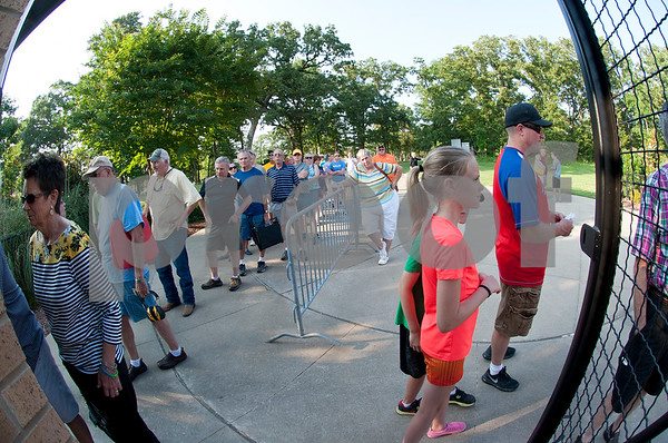 A line of baseball fans wait to purchase tickets at the East Texas Pump Jacks' first home game Thursday June 4, 2015 at Irwin Field n the campus of The University of Texas at Tyler in Tyler, Texas. They played against the Acadiana Cane Cutters and will face them again Friday night. They play Brazos Valley Bombers Saturday and Sunday at Irwin Field. The Pump Jacks, a Texas Collegiate Wooden Bat League, are playing their first season in Tyler after moving from nearby Kilgore.   (photo by Sarah A. Miller/Tyler Morning Telegraph)