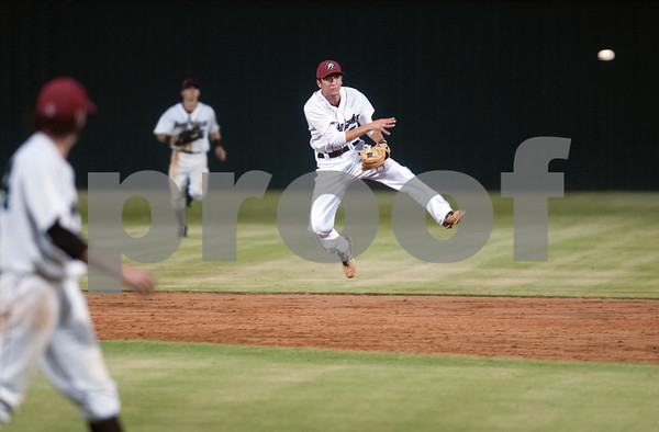 Player Anthony Donovan throws the ball to first base during the East Texas Pump Jacks' first home game Thursday June 4, 2015 at Irwin Field n the campus of The University of Texas at Tyler in Tyler, Texas. They played against the Acadiana Cane Cutters and will face them again Friday night. They play Brazos Valley Bombers Saturday and Sunday at Irwin Field. The Pump Jacks, a Texas Collegiate Wooden Bat League, are playing their first season in Tyler after moving from nearby Kilgore.   (photo by Sarah A. Miller/Tyler Morning Telegraph)
