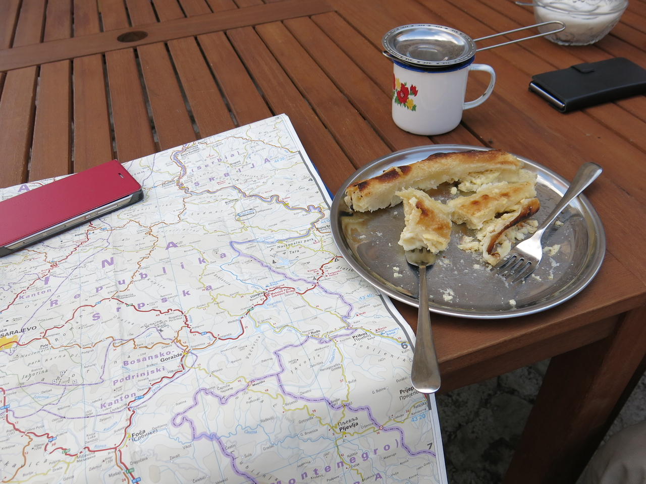 Having a snack while planning a route