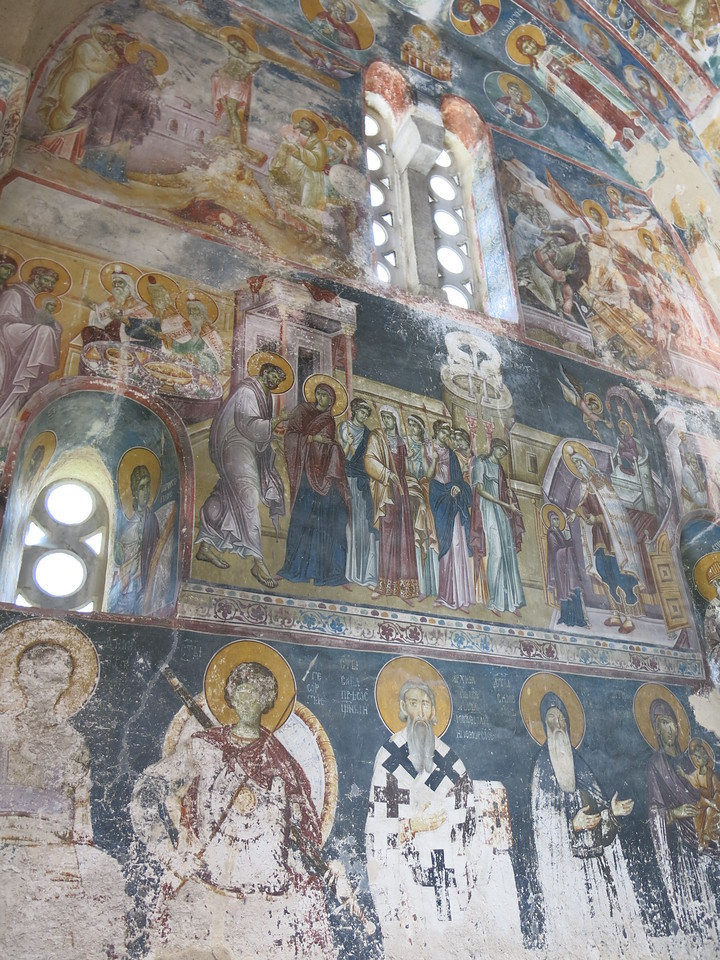 Icons and murals inside the church