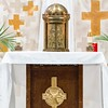 The tabernacle containing the Holy Eucharist is seen during Adoration at Immaculate Conception Church in Denton after the Holy Thursday Mass.