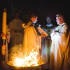 Lighting and blessing of the Easter fire with Father Richard Eldredge, TOR,  at Good Shepherd Parish in Colleyville.