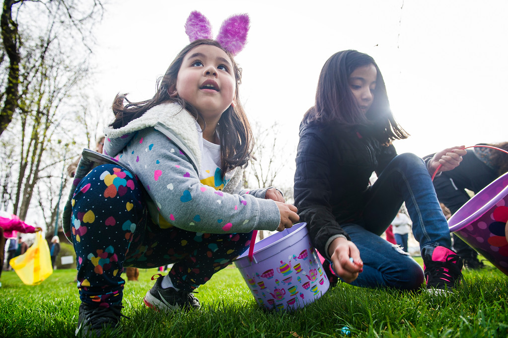 . Cielo Garcia, 4, glances up at her mother while grabbing chocolate eggs as thousands of kids swarmed Pioneer Park in Walla Walla, Wash., during the 59th Annual Children\'s Easter Egg Hunt, Saturday, March 31, 2018. (Greg Lehman/Walla Walla Union-Bulletin via AP)