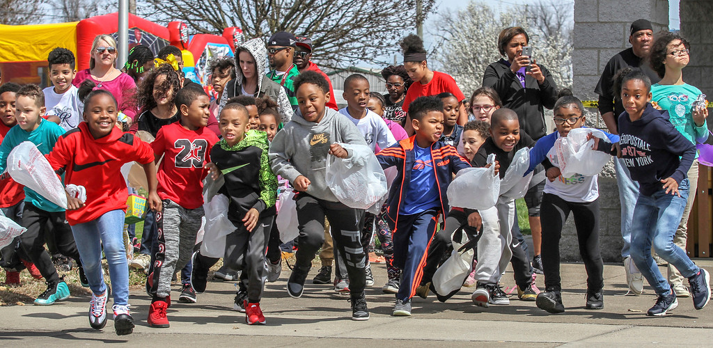 . Children rush from the starting line to hunt for Easter eggs while participating in Easter in the Park at Kendall Perkins Park on Saturday, March 31, 2018, in Owensboro, Ky. The egg hunt was put on by Justin Davidson and the Sheila K. Foundation, which is an organization spreading knowledge to youth and the community about the seriousness of cancer.  (Greg Eans/The Messenger-Inquirer via AP)/The Messenger-Inquirer via AP)