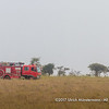 The fire truck of the Seronera Airstrip patrolling, Serengeti National Park, Tanzania