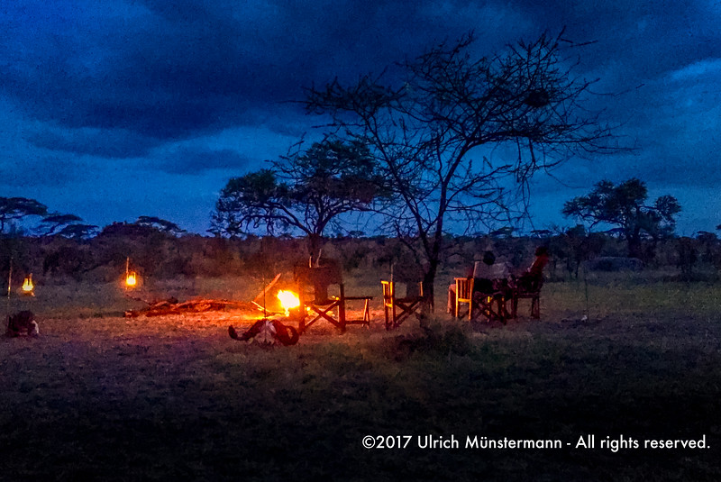 Camp fire of Kenzan Kisura Camp, Serengeti National Park, Tanzania