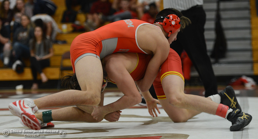 . In the 128 bout, Chico High\'s Mere Chavez wrestles Foothill High\'s Jake Bergstrom during the Eastern Athletic League Championships, Saturday, February 10, 2018, in Chico, California. (Carin Dorghalli -- Enterprise-Record)