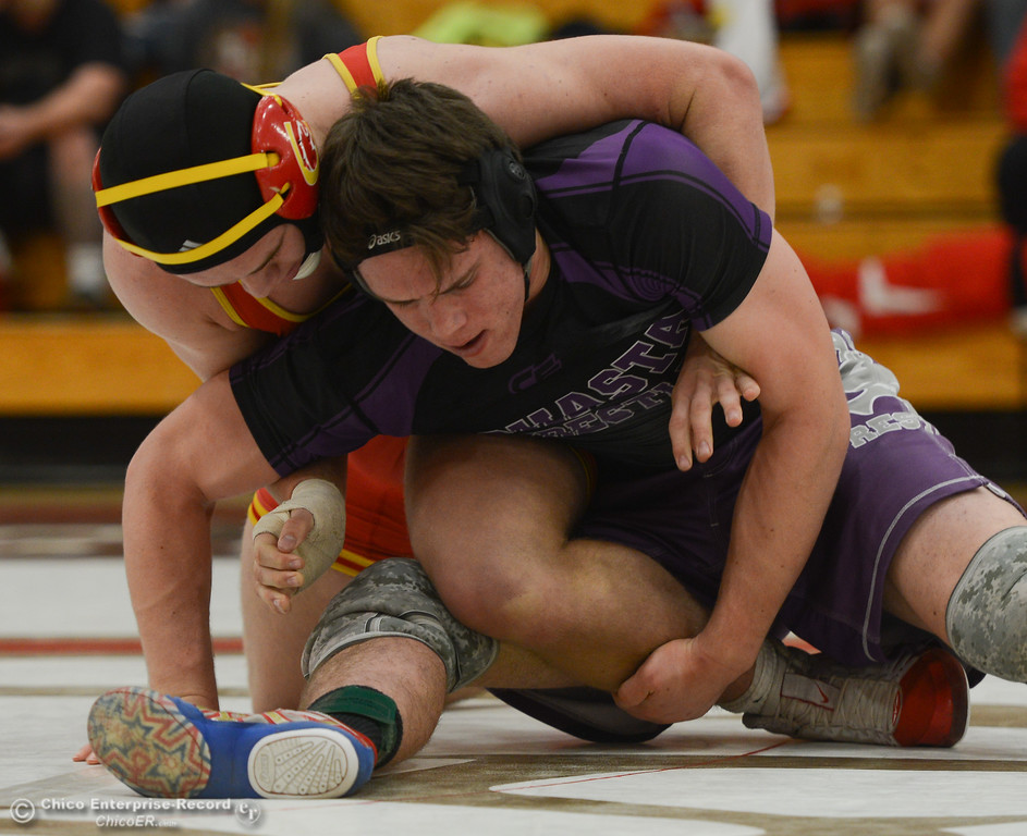 . In bout 184, Shasta High\'s Quinn Simard wrestles Chico High\'s Bobby McCoy during the Eastern Athletic League Championships, Saturday, February 10, 2018, in Chico, California. (Carin Dorghalli -- Enterprise-Record)