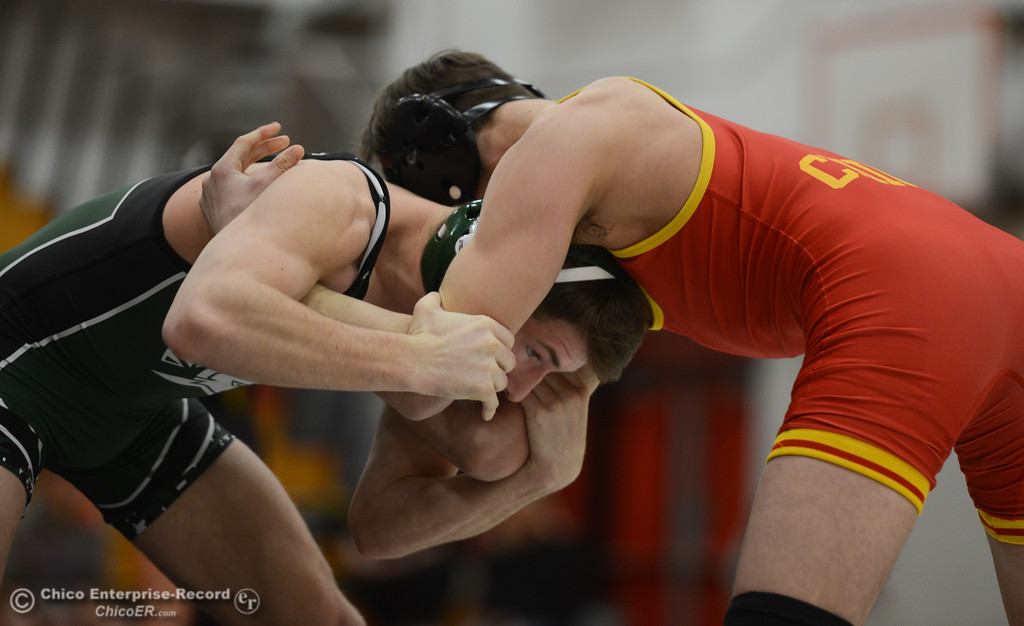 . In the 115 bout, Chico High\'s Jacob Hiller wrestles Red Bluff High\'s Aj Strole, Saturday during the Eastern Athletic League Championships, February 10, 2018, in Chico, California. (Carin Dorghalli -- Enterprise-Record)