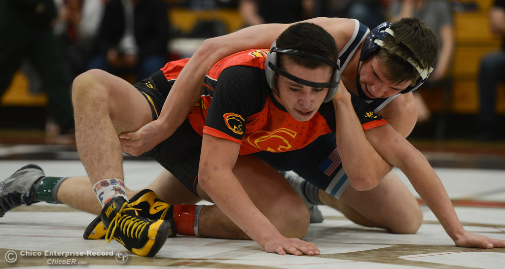 . In bout 162, Pleasant Valley High\'s Henry Volpato wrestles Chico High\'s Zach Soto during the Eastern Athletic League Championships, Saturday, February 10, 2018, in Chico, California. (Carin Dorghalli -- Enterprise-Record)