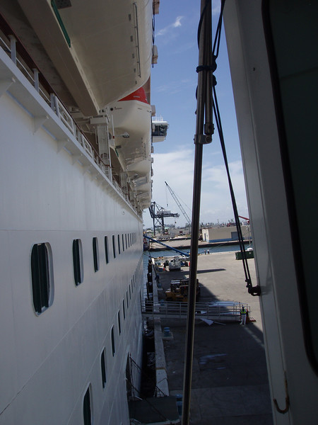 Looking to the right toward the bow of the Caribbean Princess, as we leave the gangway and enter the ship.