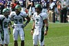 (26) Corey Welch, (84) Trey Hunter, (7) Andy Schmitt - September 12, 2009 - Eastern Michigan Eagles at Northwestern Wildcats