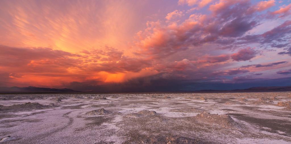 Smokey Sunset over Mono Lake bed