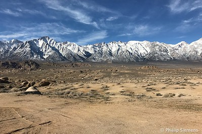 The snowy Sierra crest centered on Mount Whitney