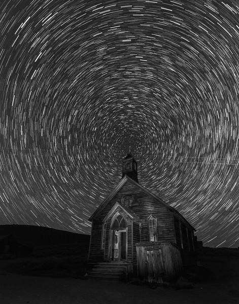 Star Trails over Bodie Methodist Church