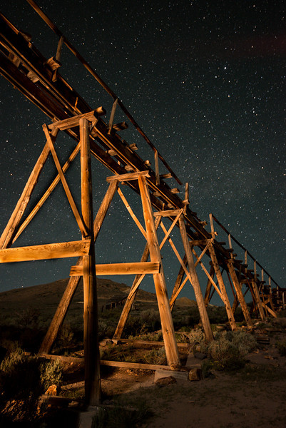 Light painted Bodie ore tressel