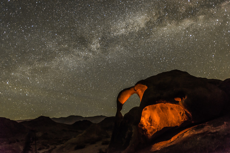 Milky Way and Light Painted Double Arches in the Alabama Hills