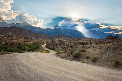 Sunset rays from Alabama hills, Eastern Sierras