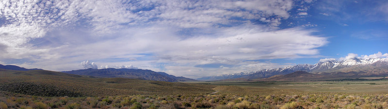 """Owens Valley from Big Pine South From Rt 168 East of Big Pine  <a href=""""http://www.dbdimages.com/photos/75405698_kerwz-O.jpg""""TARGET=""""blank"""">View large in another window.</a> Use your viewer's zoom function if necessary and be sure to use the sliders."""
