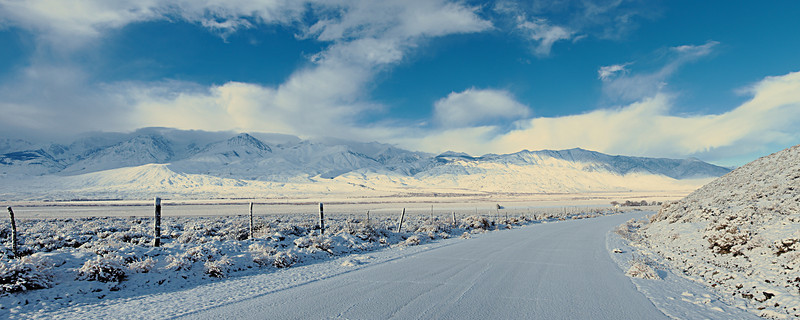 The Death Valley Road into Big Pine after a snowy night in the Owens Valley.