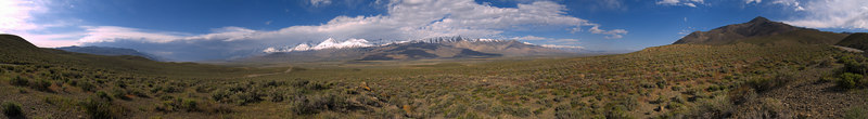 """A storm coming across the southern end of the Owens Valley, the Palisades still in the sun, from CA Route 168 west of Big Pine  <a href=""""http://www.dbdimages.com/photos/71402938_eY9h8-O.jpg""""TARGET=""""blank"""">View large in another window.</a> Use your viewer's zoom function if necessary and be sure to use the sliders."""