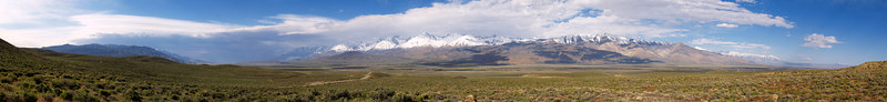"""A storm coming across the southern end of the Owens Valley, the Palisades still in the sun, from CA Route 168 west of Big Pine  <a href=""""http://www.dbdimages.com/photos/71402983_doDaL-O.jpg""""TARGET=""""blank"""">View large in another window.</a> Use your viewer's zoom function if necessary and be sure to use the sliders."""