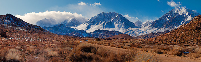 """Mount Humphreys (in cloud) Basin Mountain and Mount Tom via the Buttermilk Road  <a href=""""http://www.dbdimages.com/photos/896649946_HR4Eh-O.jpg""""TARGET=""""blank"""">View large in another window.</a> Use your viewer's zoom function if necessary."""