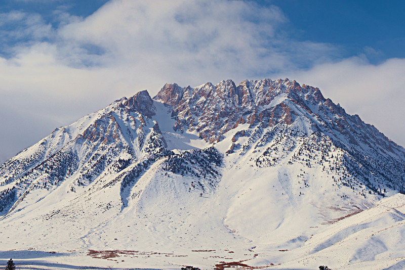 Basin Mountain<br /> with avalanches in the base of the gullies right of the cirque