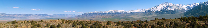 """Sherwin Grade Southern View Panorama On the skyline: . White Mountains . Black Mountain . Inyo Mountains . Coyote Ridge . Mount Tom  <a href=""""http://www.dbdimages.com/photos/75462188_g7YsH-O.jpg""""TARGET=""""blank"""">View large in another window.</a> Use your viewer's zoom function if necessary."""