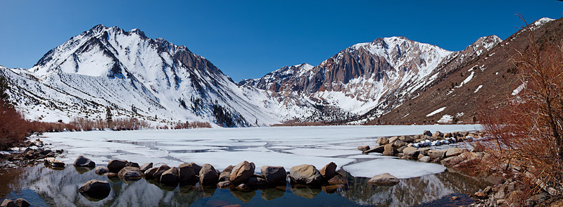 """Convict Lake from the outlet. Mount Morrison and Sevehah Cliff on Laurel Mountain March 26, 2010  <a href=""""http://www.dbdimages.com/photos/897192596_2DcRs-O.jpg""""TARGET=""""blank"""">View large in another window.</a> Use your viewer's zoom function if necessary."""