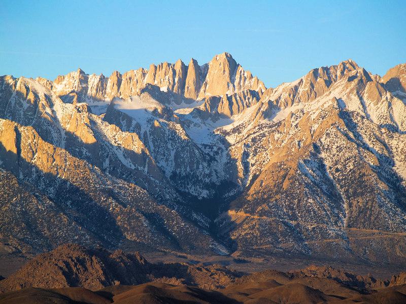 Mount Whitney Sunrise<br /> warm accent<br /> 20060203    8:17am PST